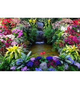 Flowers Waterfall Wall Mural
