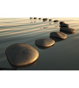 Step Stones Sunset Wall Mural