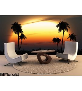Tropical Twilight Sun Highlights Palm Silhouettes Wall Mural Wall Tapestry tapestries