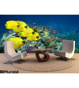 School Masked Butterfly Fish Wall Mural Wall Tapestry tapestries