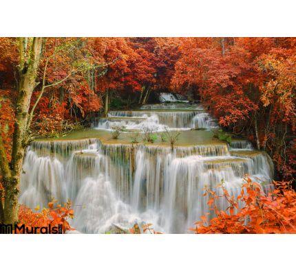 Waterfall Deep Rain Forest Jungle Huay Mae Kamin Waterfall Wall Mural Wall Tapestry tapestries