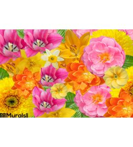 Card Floral Background Cheerful Colours Wall Mural Wall Tapestry tapestries