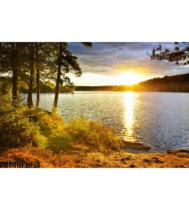 Sunset over lake Wall Mural Wall Tapestry tapestries