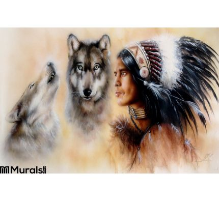 Portrait Young Courrageous Indian Warrior Pair Wolves Wall Mural Wall Tapestry tapestries