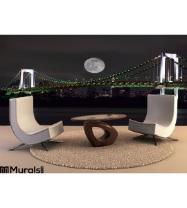 Full Moon over Tokyo, Japan Wall Mural Wall Tapestry tapestries