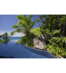 Swimming Pool Palm Trees Banyan Tree Hotel Anse Intendance Mahe Seychelles Wall Mural Wall Tapestry tapestries
