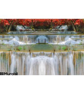 Wonderful Waterfall Rainbows Deep Forest National Park Wall Mural