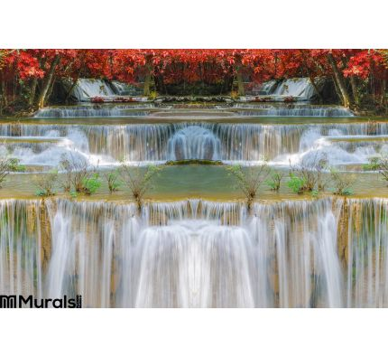 Wonderful Waterfall Rainbows Deep Forest National Park Wall Mural Wall Tapestry tapestries