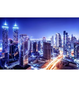 Dubai Downtown Night Scene Wall Mural