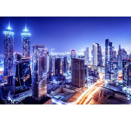 Dubai Downtown Night Scene Wall Mural Wall Tapestry tapestries