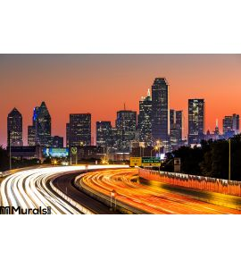 Dallas Skyline Sunrise Wall Mural