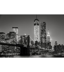 New York Night Brooklyn Bridge Lower Manhattan Black Wall Mural
