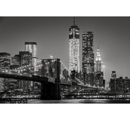 New York Night Brooklyn Bridge Lower Manhattan Black Wall Mural Wall Tapestry tapestries