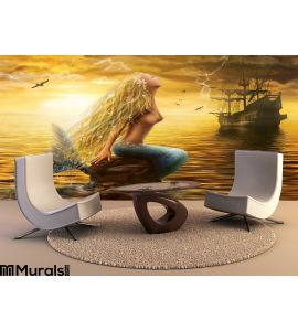 Sea Mermaid Ghost Ship Sunset Background Wall Mural Wall Tapestry tapestries