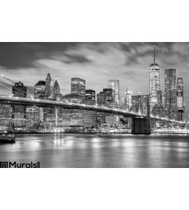 Manhattan Brooklyn Bridge Black White New York Wall Mural