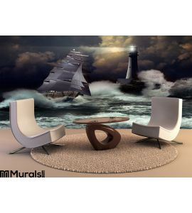 Sailboat Under Storm Wall Mural Wall Tapestry tapestries