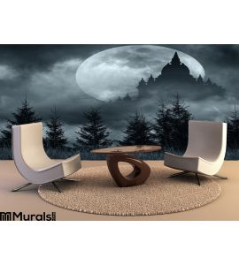 Magic Castle Silhouette Over Full Moon Mysterious Night Wall Mural Wall Tapestry tapestries