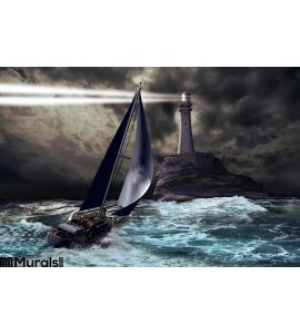Lighthouse Sailboat Wall Mural