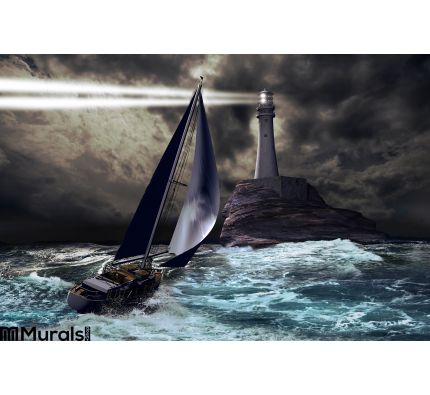 Lighthouse Sailboat Wall Mural Wall Tapestry tapestries