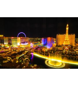 Las Vegas Skyline Night Wall Mural