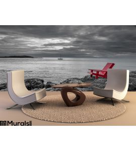 Red chair black and white nature background Wall Mural Wall Tapestry tapestries