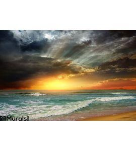 Folly Beach Ocean Sunset Wall Mural