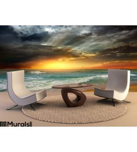Folly Beach Ocean Sunset Wall Mural Wall Tapestry tapestries