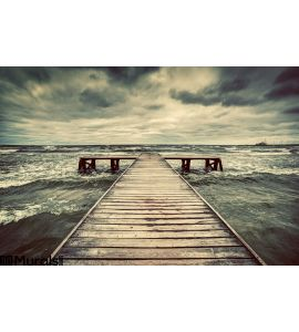 Old Wooden Jetty Storm Sea Dramatic Sky Dark Heavy Clouds Wall Mural