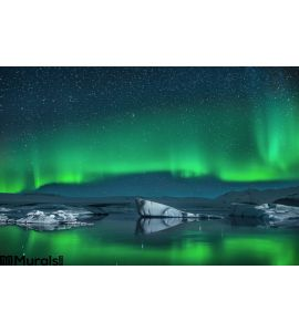 Icebergs Under Northern Lights Wall Mural