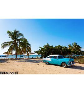 Old Classic Car Beach Cuba Wall Mural
