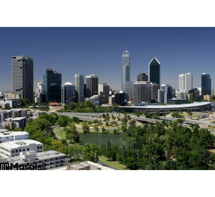 Perth Cityscape Wall Mural Wall Tapestry tapestries