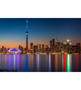 Toronto Skyline Dusk Wall Mural Wall Tapestry tapestries