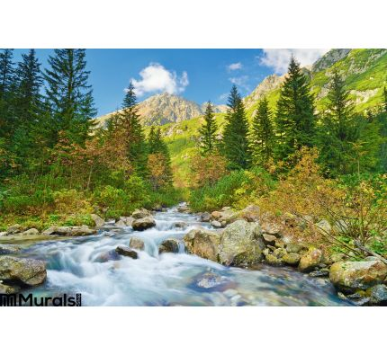 Mountain Brook Landscape Carpathian Mountains Trees Stream Wall Mural Wall Tapestry tapestries