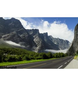 Empty Road High Norwegian Mountains Wall Mural Wall Tapestry tapestries