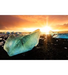 Beach Ice Sunset Wall Mural