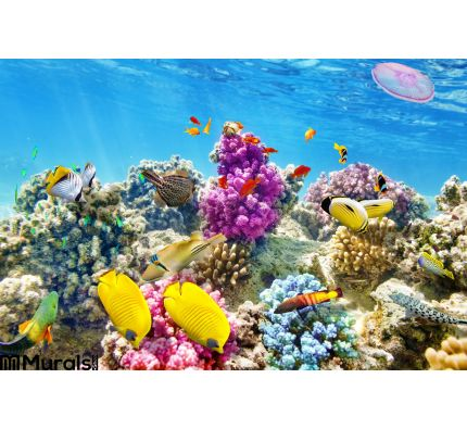 Underwater World Corals Tropical Fish Wall Mural Wall Tapestry tapestries