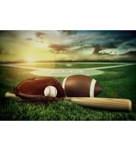 Baseball Bat Mitt Field Sunset Wall Mural