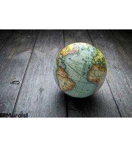 World Globe Wood Background Wall Mural