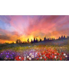 Oil painting poppy, dandelion, daisy flowers in fields Wall Mural