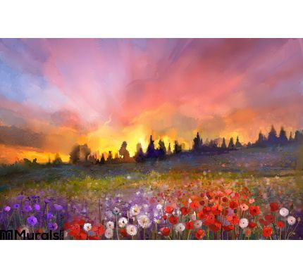Oil painting poppy, dandelion, daisy flowers in fields Wall Mural Wall Tapestry tapestries