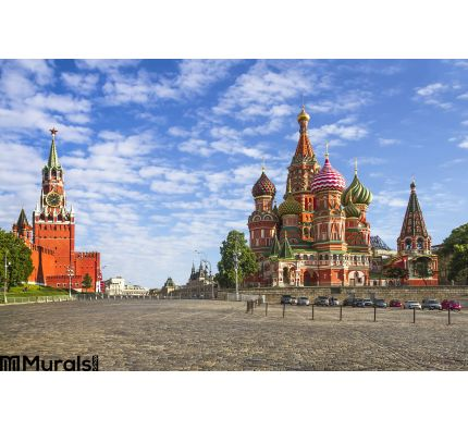 Moscow Kremlin and St. Basil Cathedral on Red Square Wall Mural Wall Tapestry tapestries