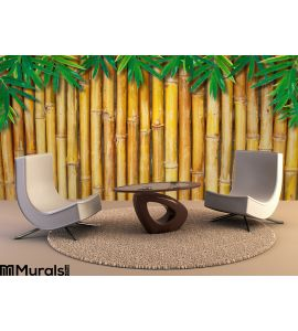 Background Bamboo Fence Bamboo Leaves Wall Mural Wall Tapestry tapestries
