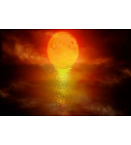 Red Moon Over Water Wall Mural