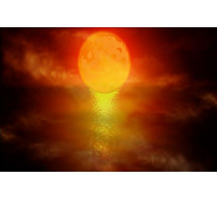 Red Moon Over Water Wall Mural Wall Tapestry tapestries
