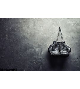 Old Boxing Gloves Hang Nail Texture Wall Wall Mural