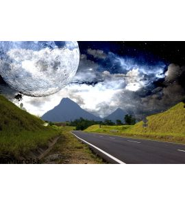 Countryside Highway Galactic Background Wall Mural