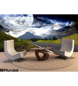 Countryside Highway Galactic Background Wall Mural Wall art Wall decor