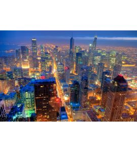 Chicago Skyline Night Wall Mural