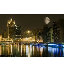 City Night Large Moon Wall Mural