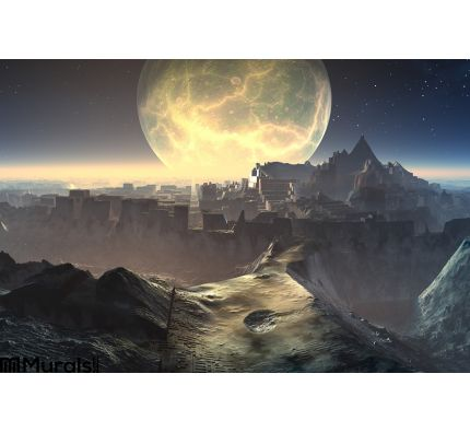 Alien City Ruins Moonlight Wall Mural Wall art Wall decor